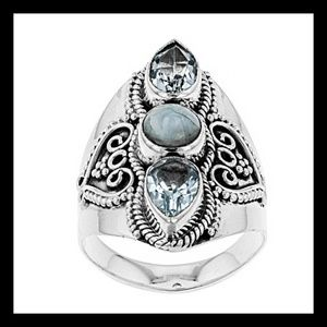 Blue Topaz & Larimar Sterling Silver Ring 2.40ctw